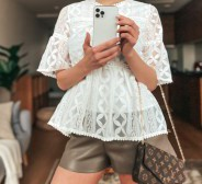 UUS! Chicwish White Lace Dolly Shirt Blouse with Bell Sleeves. Suurus S/M, sildid küljes.